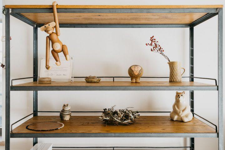 木とアイアン素材の棚3