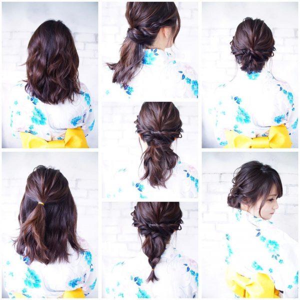 浴衣×黒髪でおすすめの髪型・ミディアム2