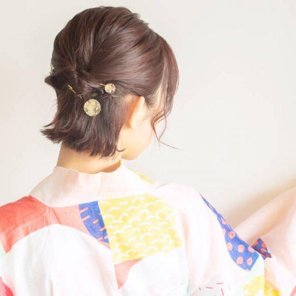浴衣×黒髪でおすすめの髪型・ショート3