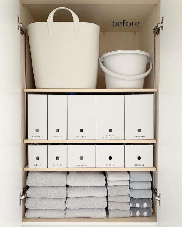 整理整頓が行き届いた洗面所収納