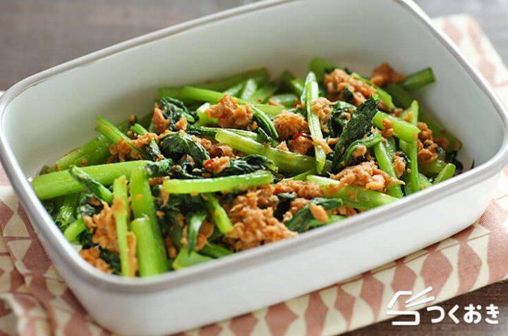 一人暮らしの食事に!小松菜とツナの甘辛炒め