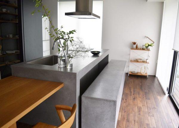 キッチン&洗面スペースにコンクリート