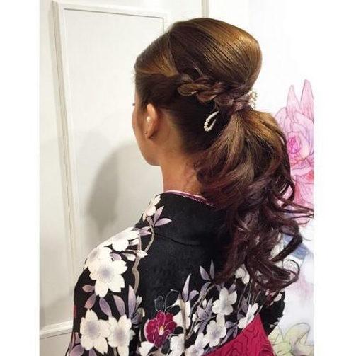 浴衣×黒髪でおすすめの髪型・セミロング