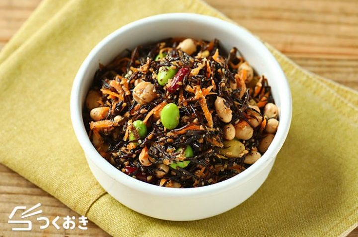 一人暮らしの食事!豆とひじきの栄養満点サラダ