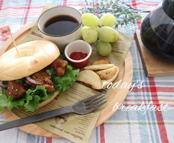 唐揚げリメイクベーグルサンドイッチ