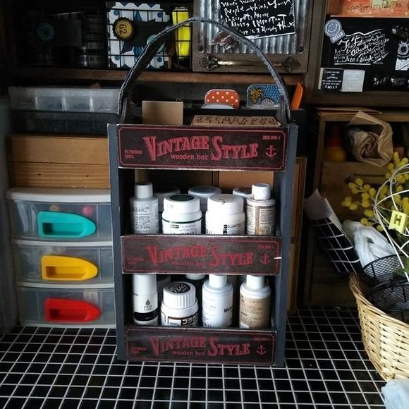 ダイソー商品でたくさん収納できる木箱の完成