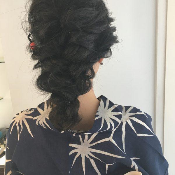 浴衣×黒髪でおすすめの髪型・ロング3