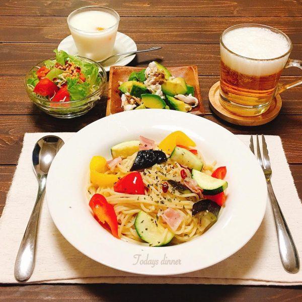 夕飯の簡単主食レシピ!夏野菜ペペロンチーノ