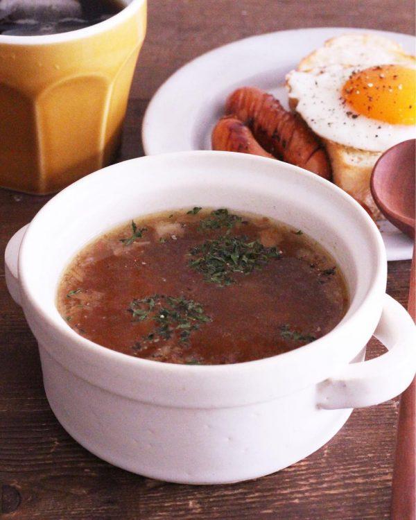 レンジで簡単!フライドオニオンスープ