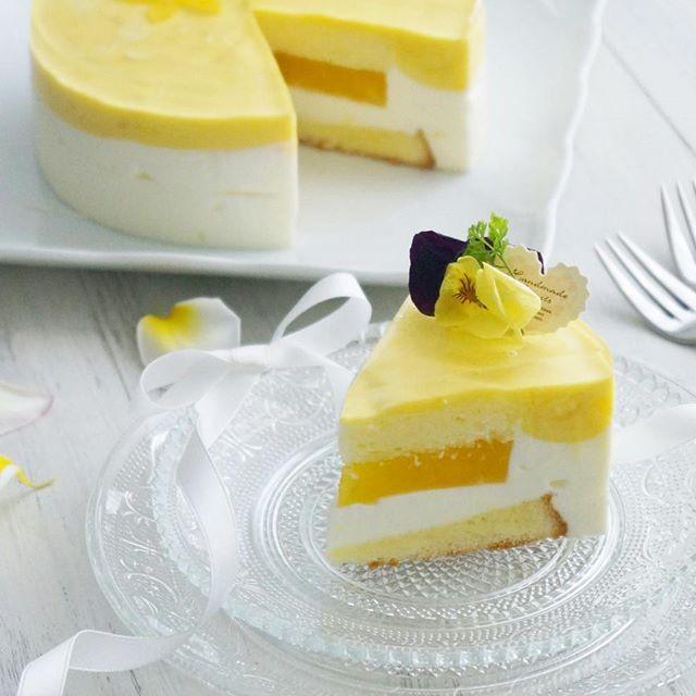 マンゴーと水切りヨーグルトのケーキ