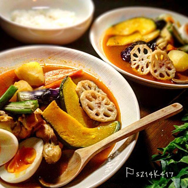 野菜たっぷり人気のスープカレー