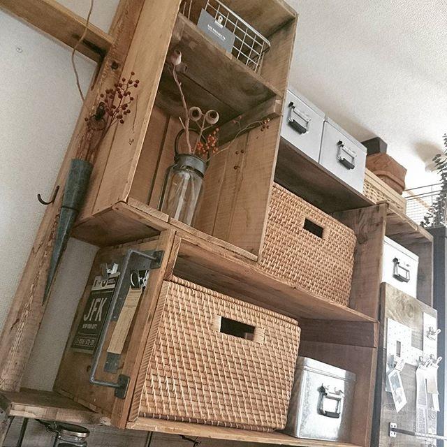 ボックスを取り付ける簡単DIY収納棚