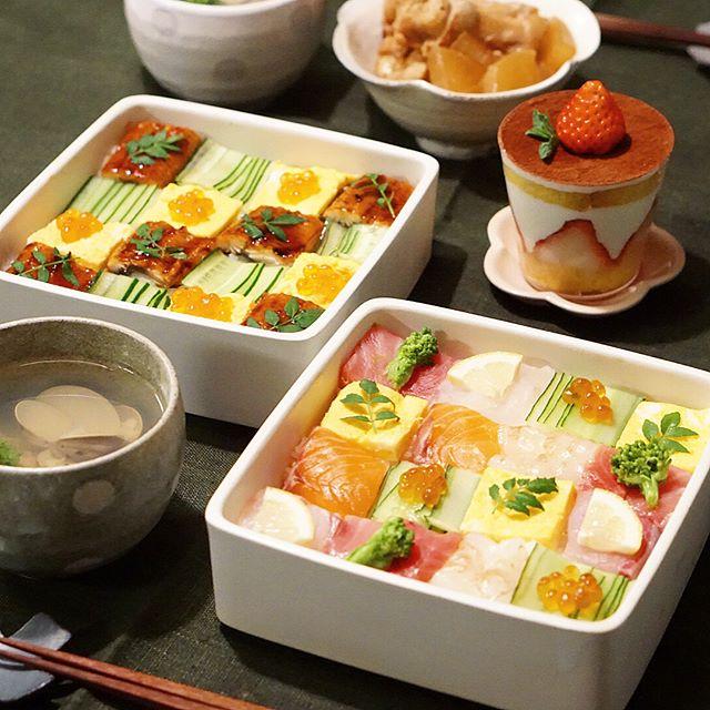 美しい正月料理。モザイク寿司