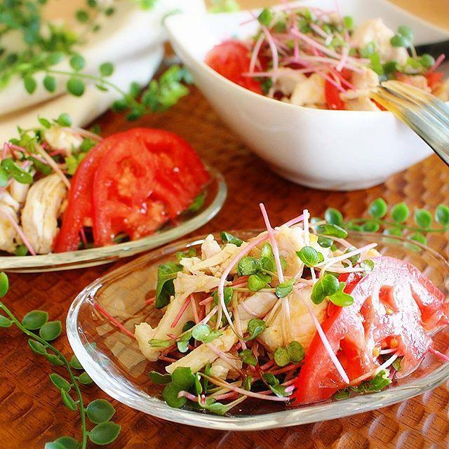 夕食の献立に。鶏むね肉でおかずサラダ