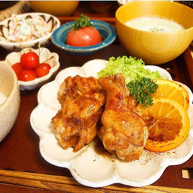 鶏手羽元とオレンジのバーベキュー焼き