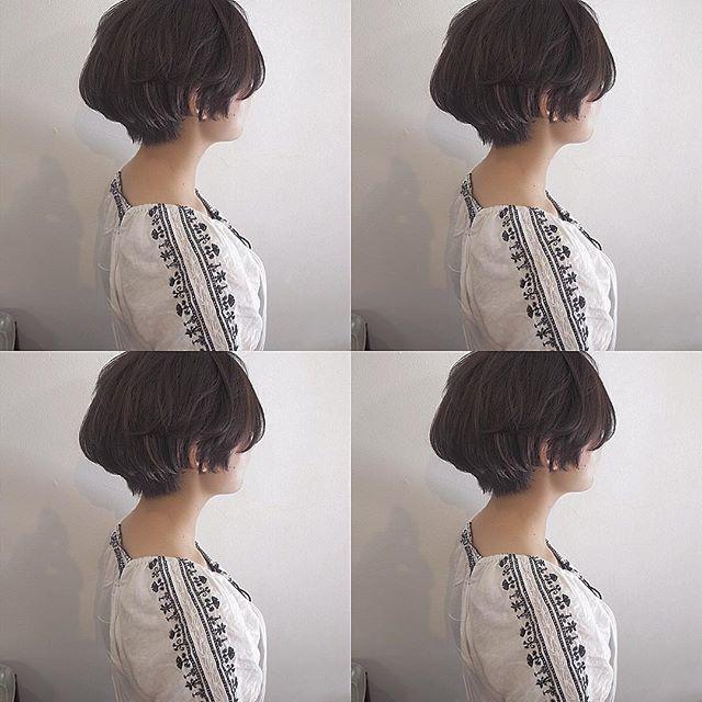 大人女性の黒髪マッシュ《ボブ》2