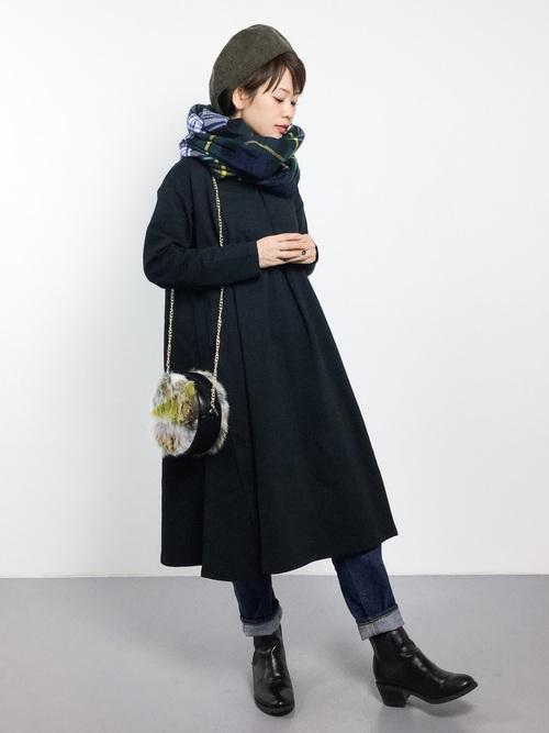 レディースの冬ベレー帽×ワンピコーデ6