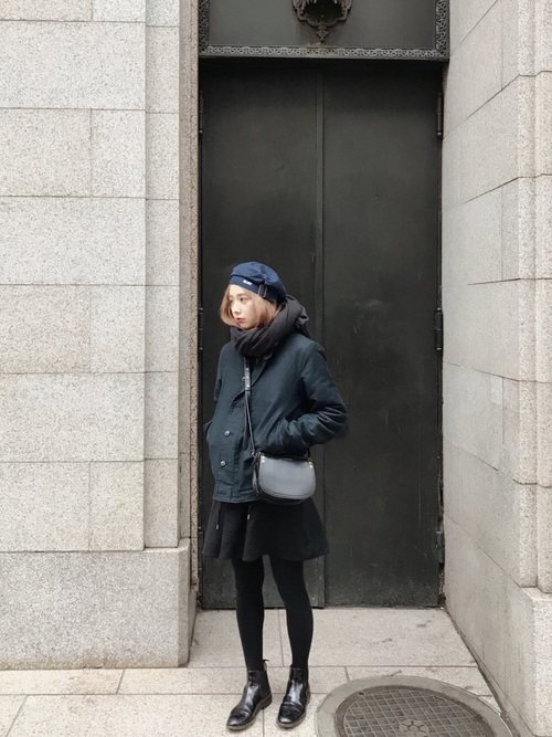 レディースの冬ベレー帽×ワンピコーデ7