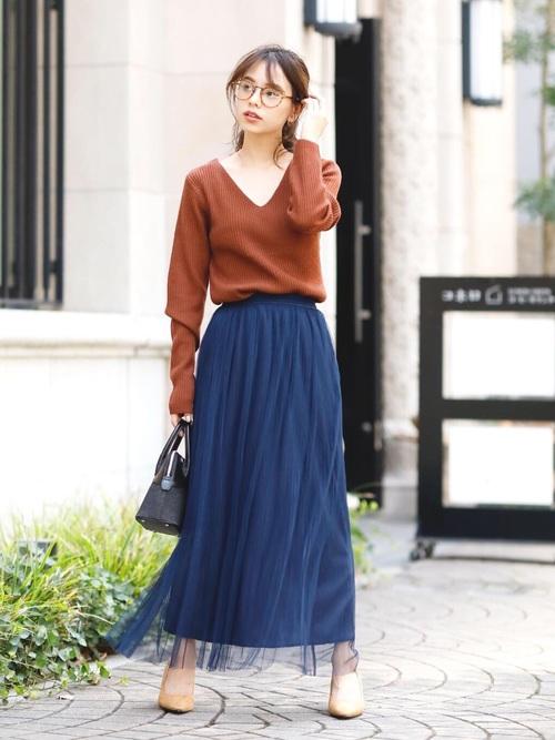 [Doula Doula] チュールプリーツロングスカート