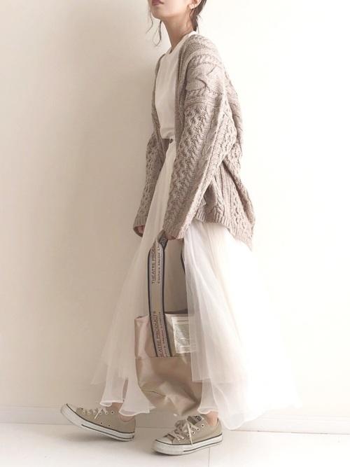 [Auntie Rosa] 【LA BELLE ETUDE】【Belle vintage】デニムドッキングボリュームチュール×オーガンジースカート2