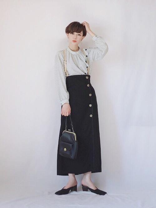 [YARD PLUS/AUNT MARIE'S] AUNT MARIE'S レザーサス付きハイウエストナロースカート