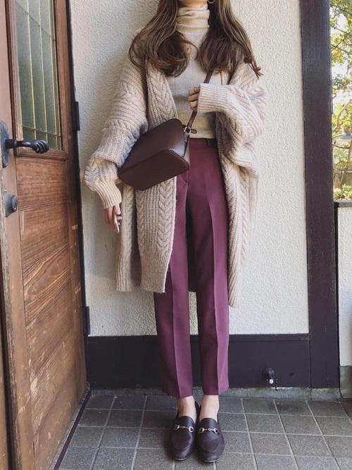 大人に合う冬の茶色ローファーコーデ《羽織もの有り》5