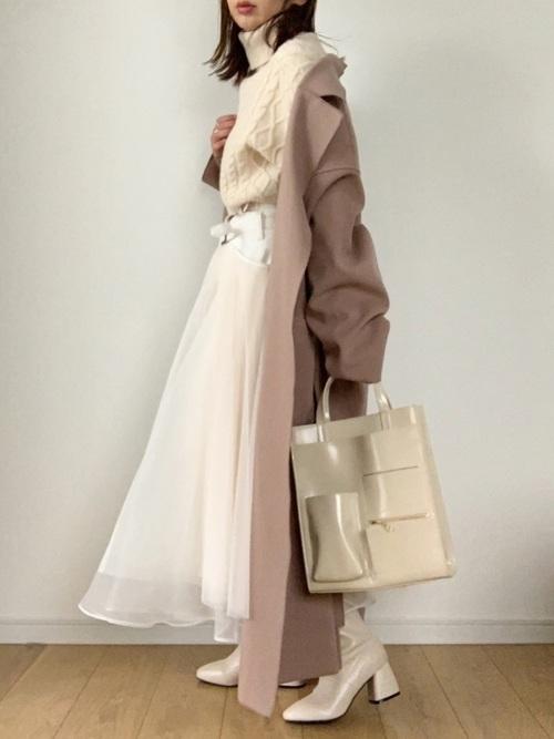 [Auntie Rosa] 【LA BELLE ETUDE】【Belle vintage】ベルトデニムドッキングボリュームチュール×オーガンジースカート【低身長向けSサイズあり】