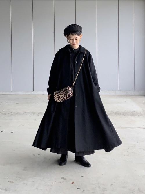 レディースの冬ベレー帽×ワンピコーデ9