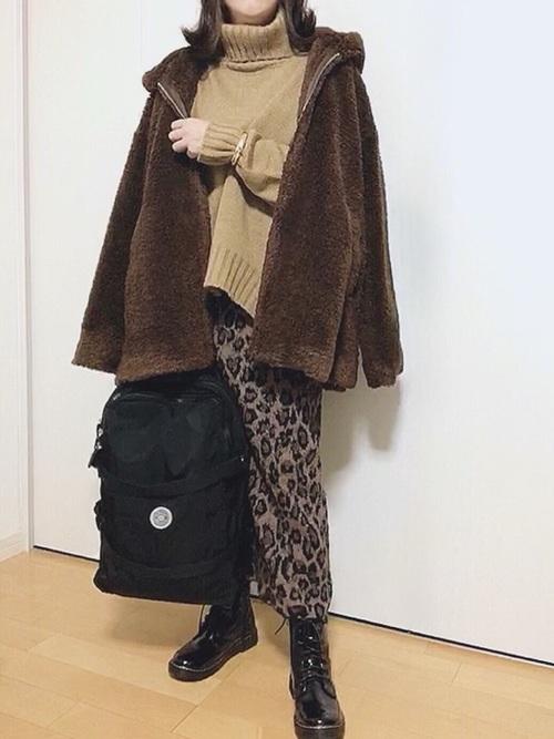 [ANDJ] 【ANDJ MADE】ヒョウ柄ジャガード織りニットスカート