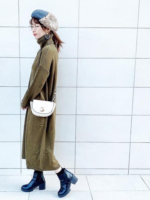 レディースの冬ベレー帽×ワンピコーデ4