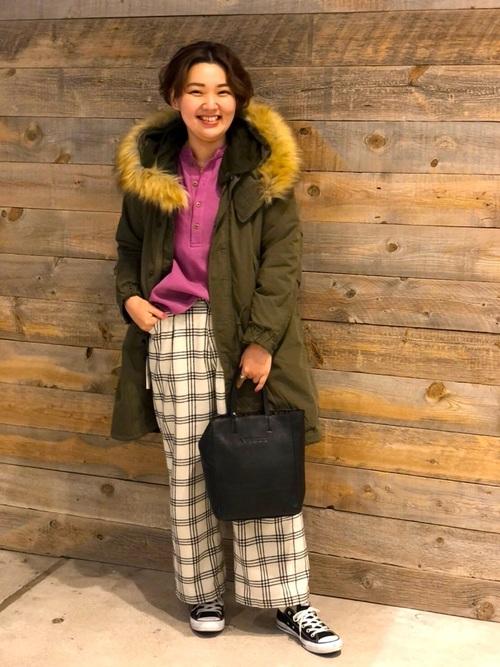 [AVIREX Belle] 【直営店限定】ウールチェック ワイドパンツ/ WOOL CHECK WIDE PANTS