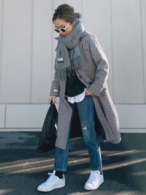 スタンスミス×ジーンズの冬コーデ