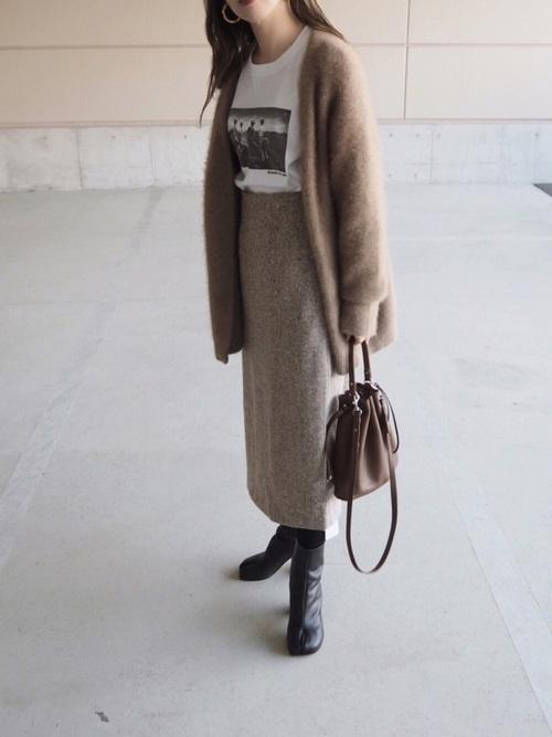 大人女子の冬のデートコーデ スカート