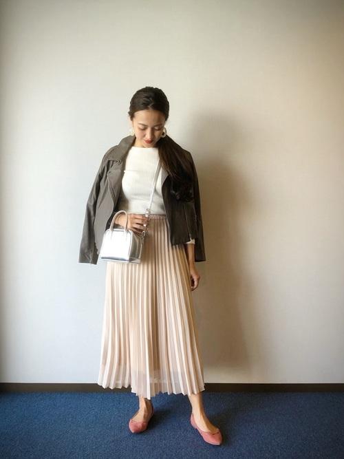 茶色ライダースコーデ《スカート》2