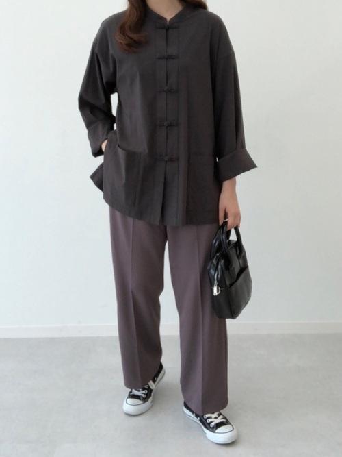 [kutir] 長袖チャイナシャツ