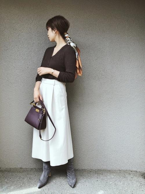 冬のスカーフコーデ|スカート
