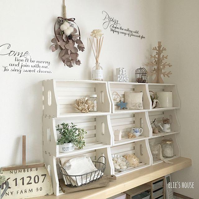 100均の木箱で作るたっぷりサイズの飾り棚