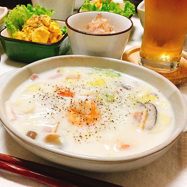 絶品レシピ。エビと白菜の中華風クリーム煮