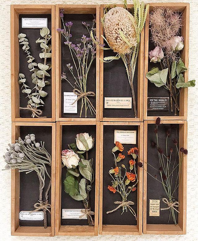 100均の木箱で作るドライフラワーの飾り棚