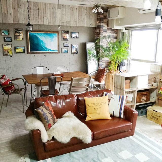 ソファと棚を使った上手な空間分けの実例