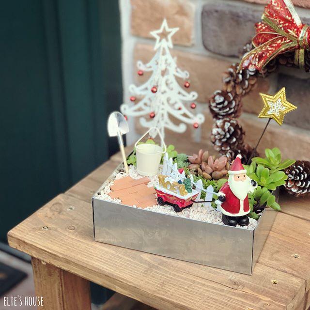 100均で作った箱庭で冬を飾りつけ