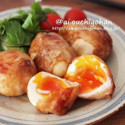 半熟が嬉しい。卵の肉巻き生姜焼き