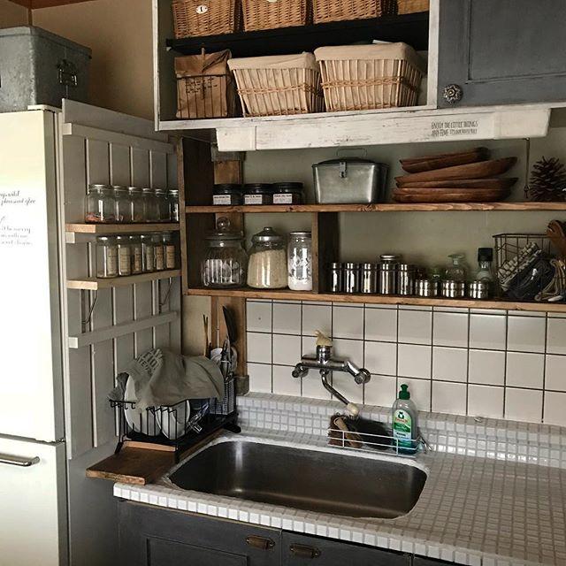 すのこで調味料棚をDIY2