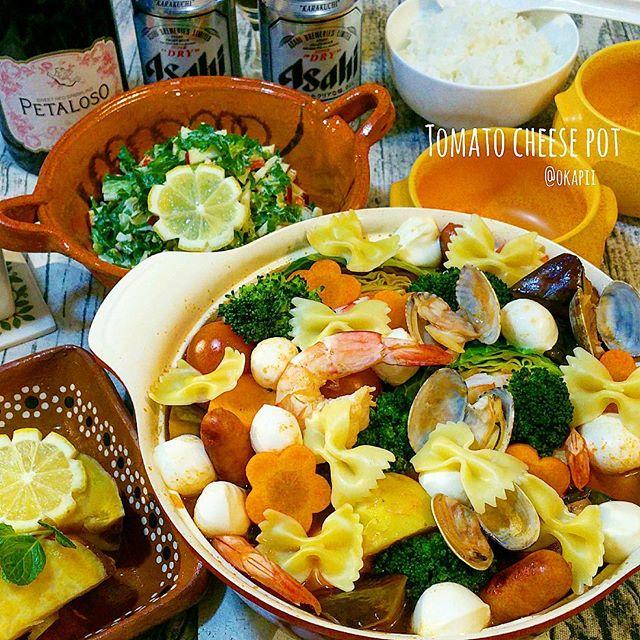 おすすめの洋風メニュー。魚介のトマトチーズ鍋