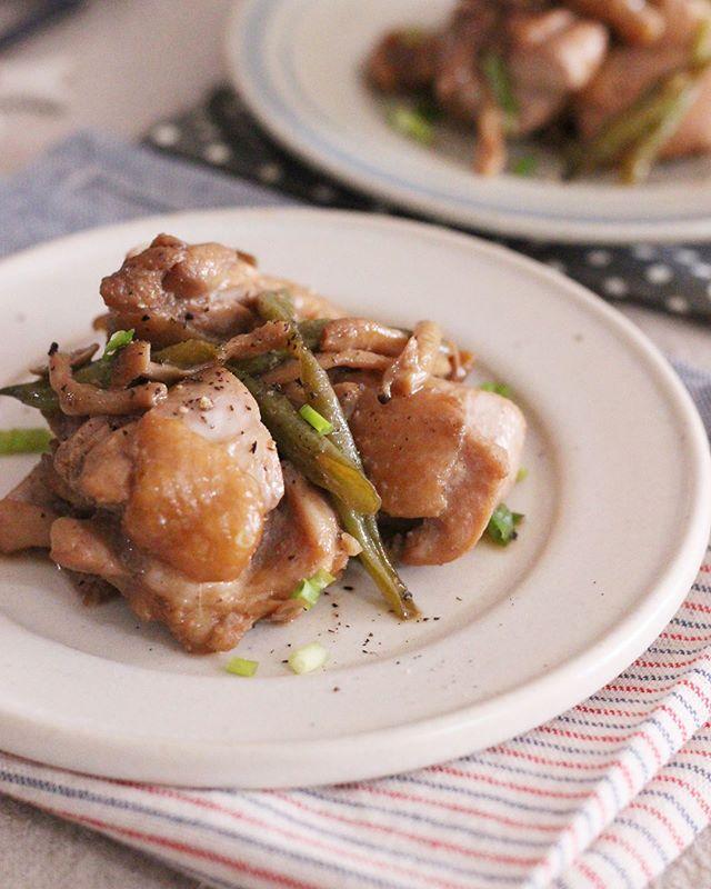 鶏肉とインゲンのバタポン焼き