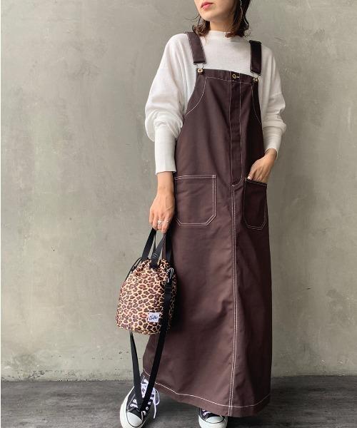 [JEANS FACTORY] 【Lala Begin 8・9月号掲載】[UNIVERSAL OVERALL/ユニバーサルオーバーオール] 別注配色ステッチジャンパースカート