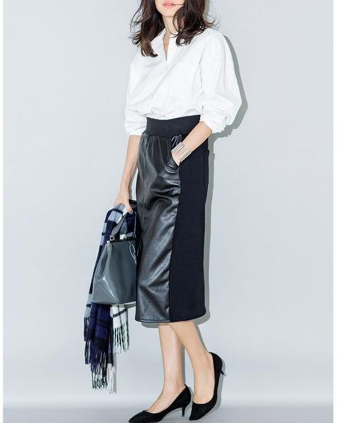 [FELISSIMO] IEDIT フェイクレザーと裏起毛素材のあったかミディタイトスカート