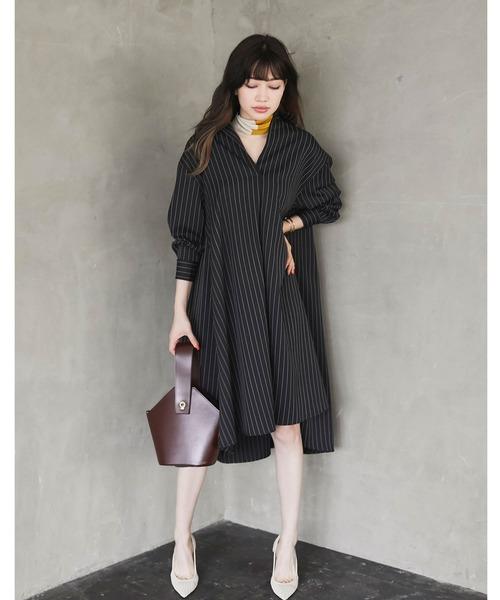 [tocco closet] 抜き衿バックテールシャツワンピース