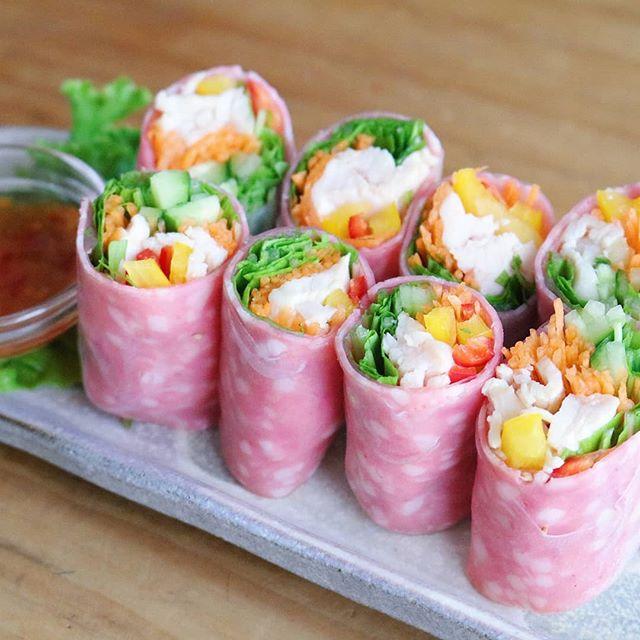 可愛い料理。簡単ピンクの生春巻き