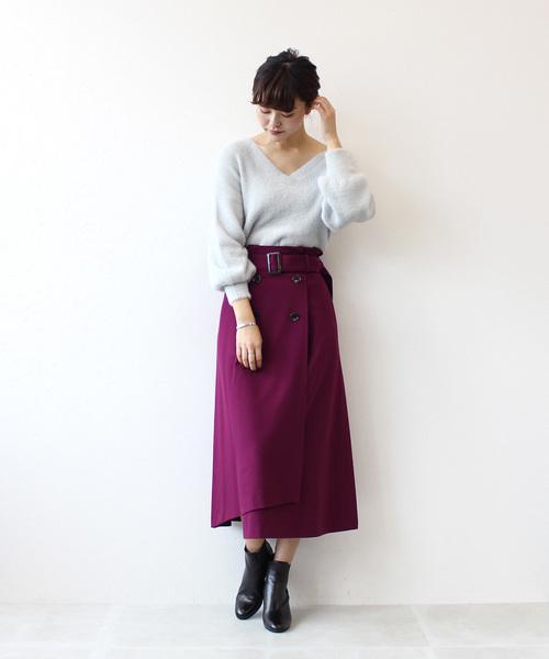 [DRESSLAVE] B7/ cosmical warm belt skirtⅡ(裏起毛ベルト付きフレアスカート)